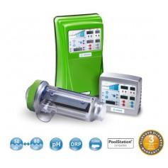 Clorador salino IDEGIS  DOM-24PH/LS, con control PH,24G.Cloro/Hora, piscinas hasta 80m3.